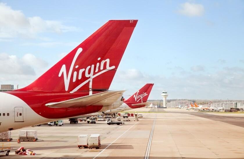 Virgin Atlantic plane planes on the ground, South terminal Gatwick airport London UK