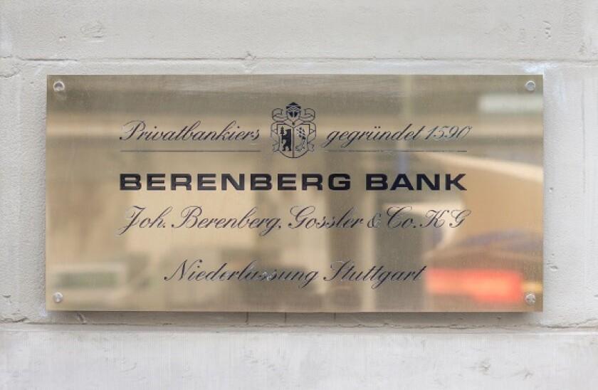 nameplate of the stuttgart branch office of _berenberg bank_ bankers, stuttgart, baden-wuerttemberg, germany