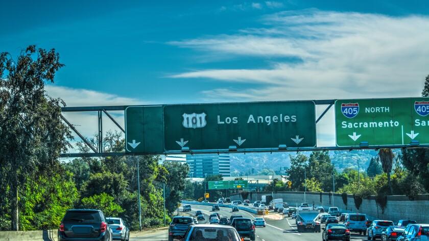 Traffic on 101 Hollywood freeway in Los Angeles