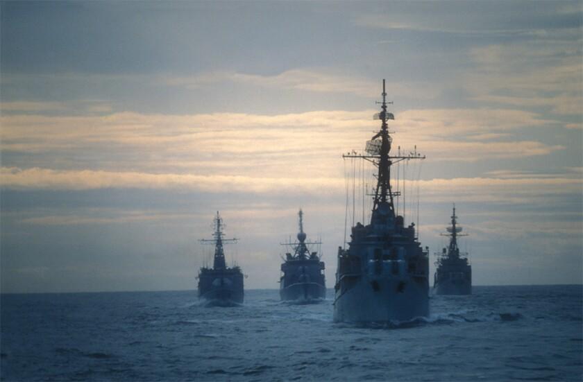 Warships marine stock photo Four frigates doing an exercise on the ocean.jpg
