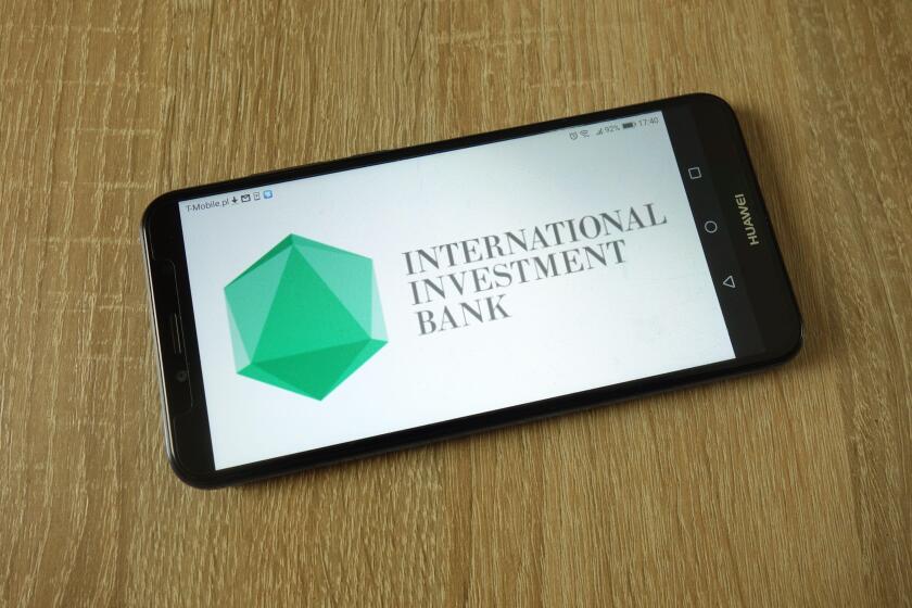 International Investment Bank logo displayed on smartphone
