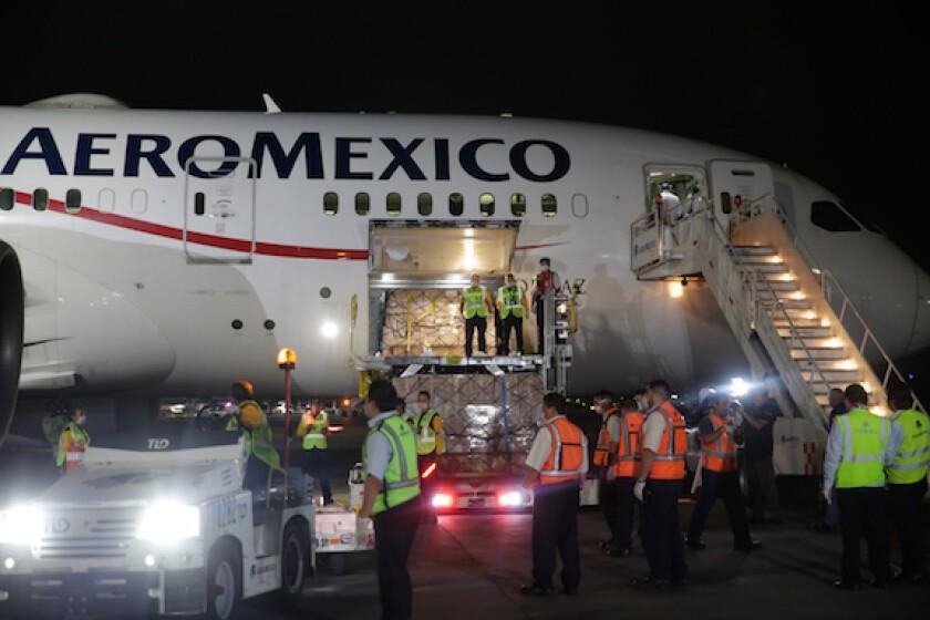 Aeromexico, Airport, aircraft, supplies, cargo, Covid-19, coronavirus, emergency, aeroplane, airline, Mexico, LatAm, 575