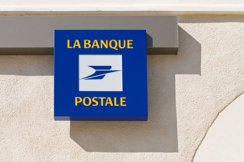 """""""La Banque Postale"""" Post Office sign, France.. Image shot 04/2008. Exact date unknown."""