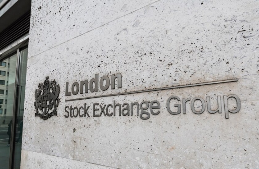 Sign outside the London Stock Exchange Group building in Paternoster Square, City of London, England, UK.