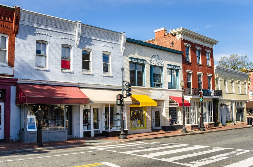 Row of Traditional American Brick Buildings with Colourful Shops Georgetown Washington DC storefronts store main street small business.jpg