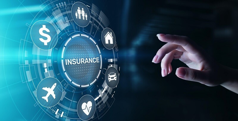 Insurance, health family car money travel Insurtech concept on virtual screen
