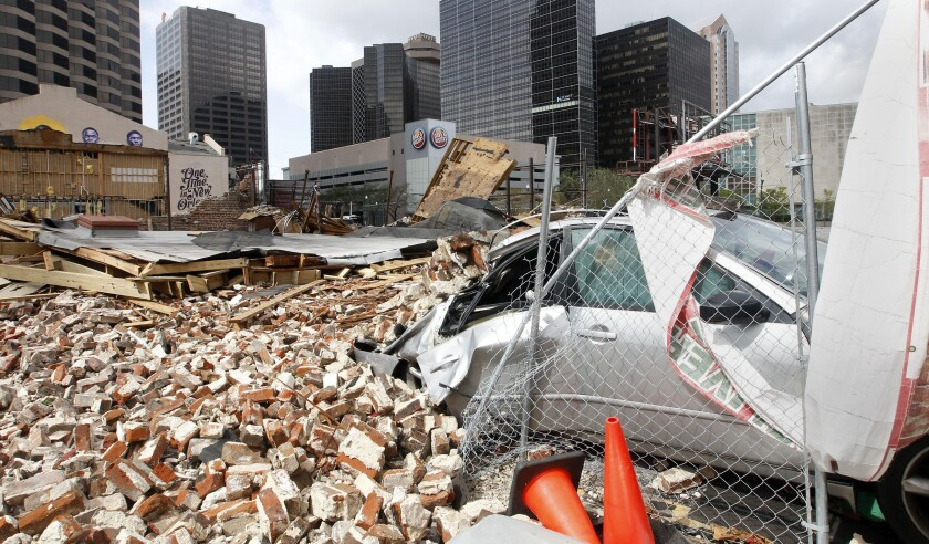 New Orleans, United States. 30th Aug, 2021. A building in downtown New Orleans, Louisiana is destroyed in the aftermath of Hurricane Ida on Monday, August 30, 2021. Power was out in the city but the levees held, Photo by AJ Sisco/UPI Credit: UPI/Alamy Liv