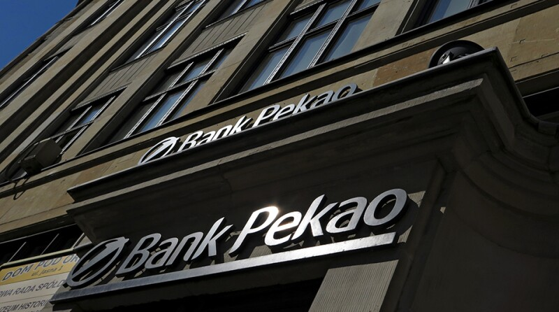 UniCredit's Polish unit Bank Pekao logo is seen on their branch in Warsaw