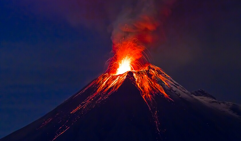 Long exposure, Tungurahua volcano with blue skyes