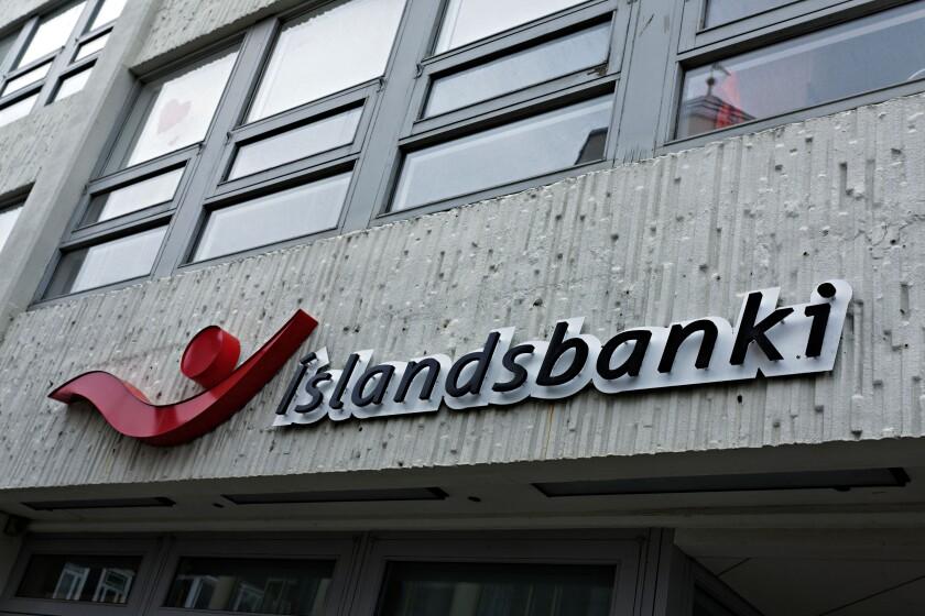 Islandsbanki sign and building, Akureyri, Iceland