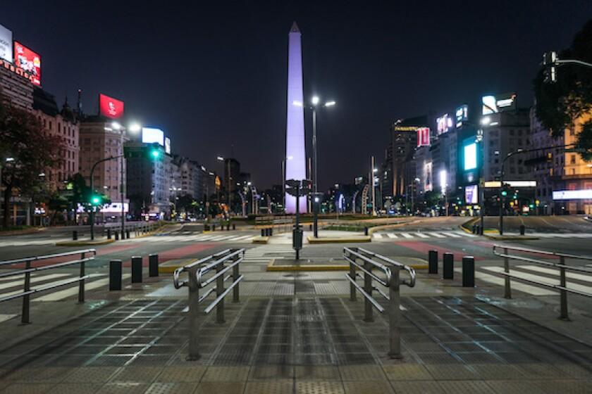 Argentina, obelisk, Buenos Aires, BA, coronavirus, lockdown, deserted, quarantine, LAtAm, 575