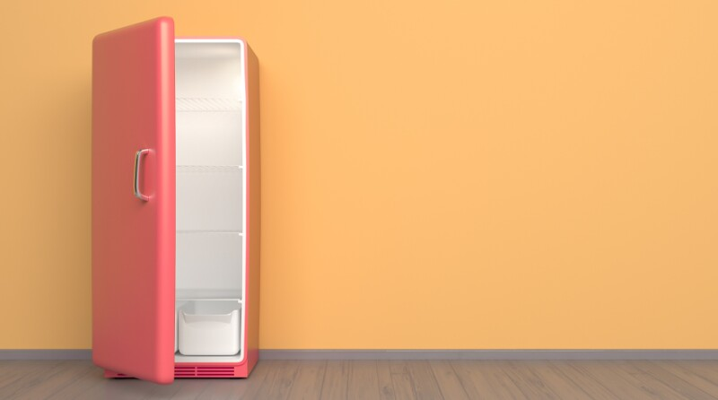 glamour pink refrigerator + retro fridge in an empty room