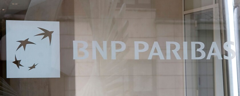 Exterior shot of BNP Paribas Bank, Harewood Avenue, London.