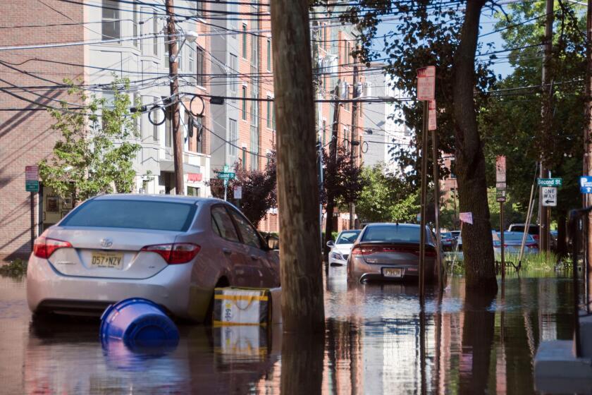 Street flooding caused by Hurricane Ida rain in Hoboken, New Jersey, USA.
