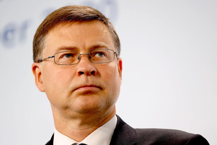 Berlin, Germany. 12th Sep, 2020. Valdis Dombrovskis, EU Vice-President and Commissioner for Economic and Capital Services, makes a statement on the second day of the informal meeting of EU economic and finance ministers. Credit: Odd Andersen/AFP/dpa/Alamy