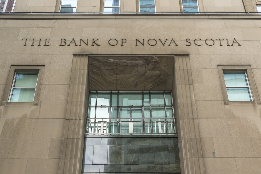 Historic Beaux-Arts headquarters of Bank of Nova Scotia (Scotiabank, 1951, architects Mathers and Haldenby) located at 44 King Street West. TORONTO, CANADA - July 24, 2017.