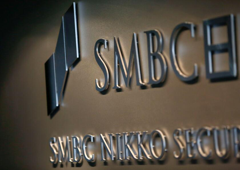 SMBC Nikko Securities' logo is pictured at its headquarters in Tokyo, Japan December 5, 2017. Picture taken December 5, 2017.  REUTERS/Kim Kyung-Hoon