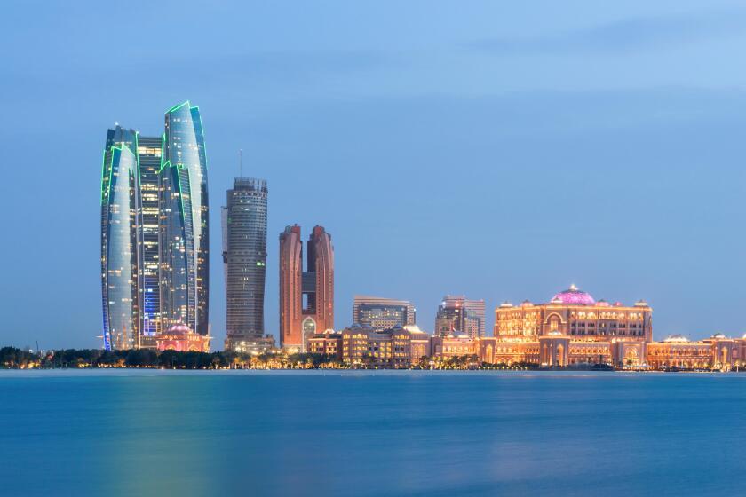 Evening skyline view of Abu Dhabi in United Arab Emirates