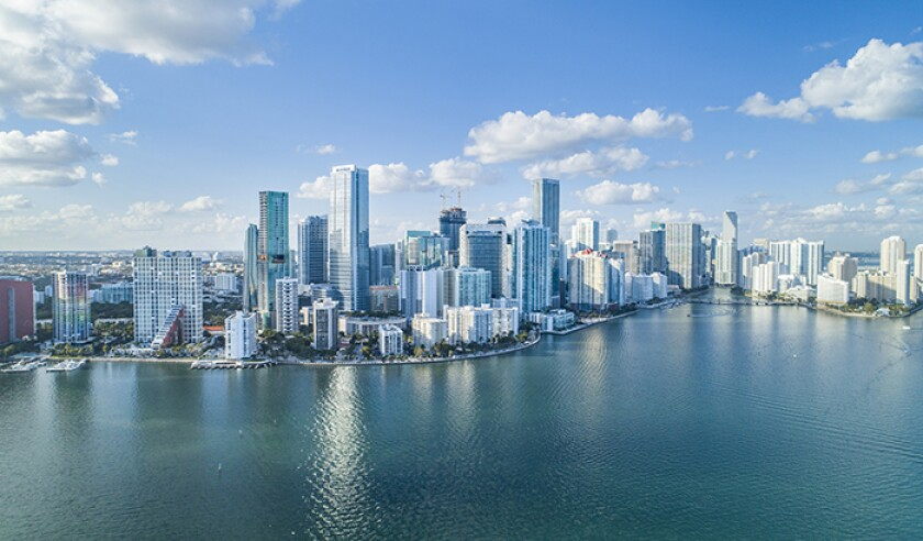 Brickell Key, Cityscape by air in Miami.