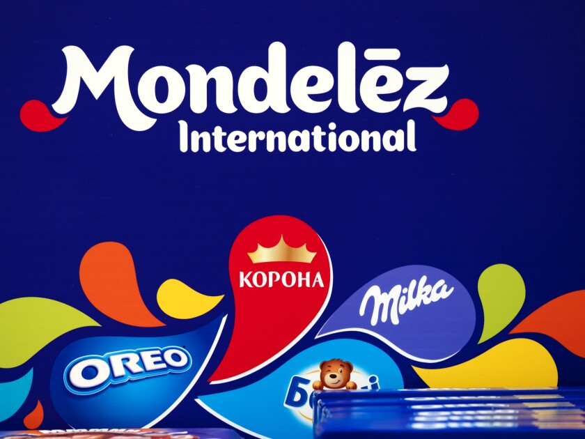 Mondelez logo on the shelf in store