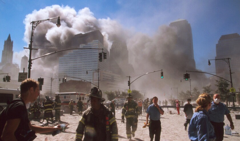 The September 11 (or 9/11) Islamic terrorist group al-Qaeda attacks on New York City, September 11, 2001. Two of the planes, were crashed into the North and South towers, of the World Trade Center complex in New York City. Within two hours, both 110-story