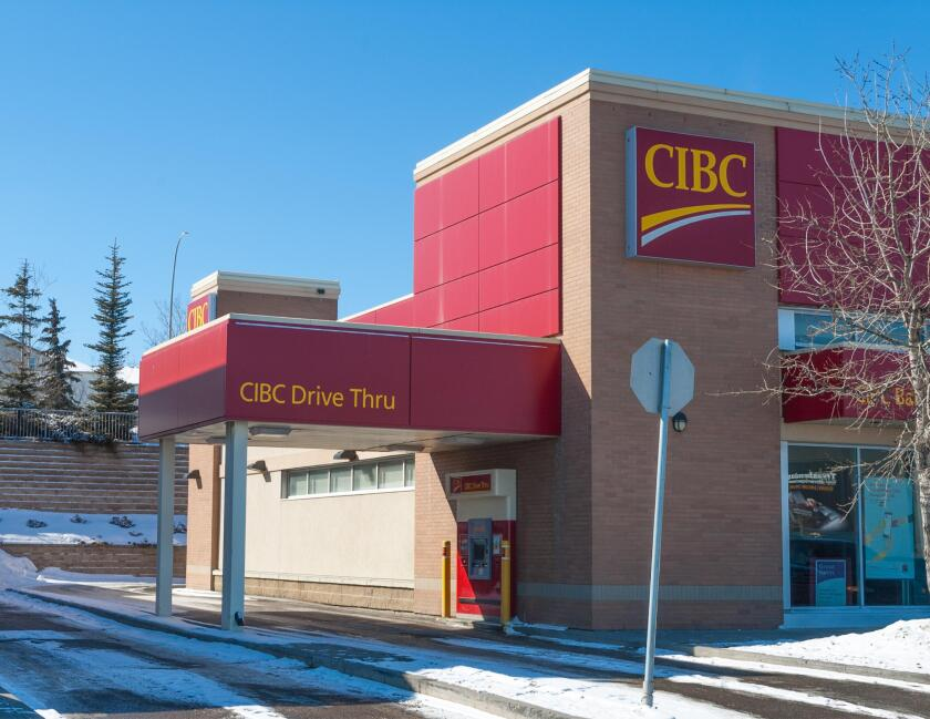 A Canadian Imperial Bank of Canada (CIBC) Bank branch in Calgary, Alberta, Canada.