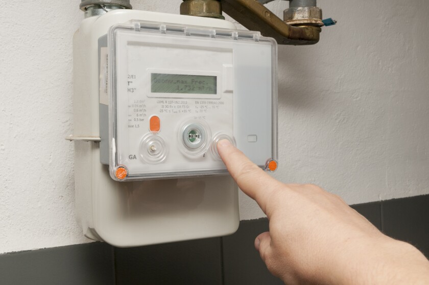 A methane gas meter at home