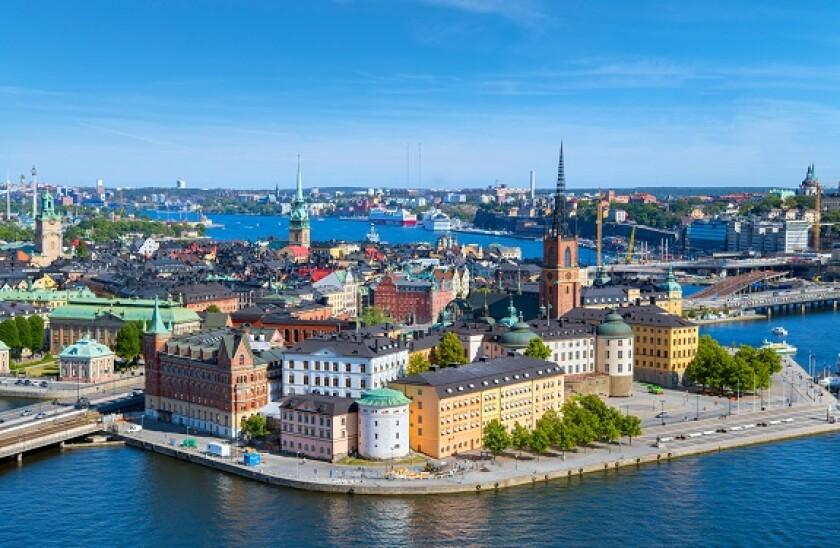 Stockholm. Aerial view of Riddarholmen and Gamla Stan (Old Town) from the Tower of Stockholm City Hall (Stadshuset), Kungsholmen, Stockholm, Sweden