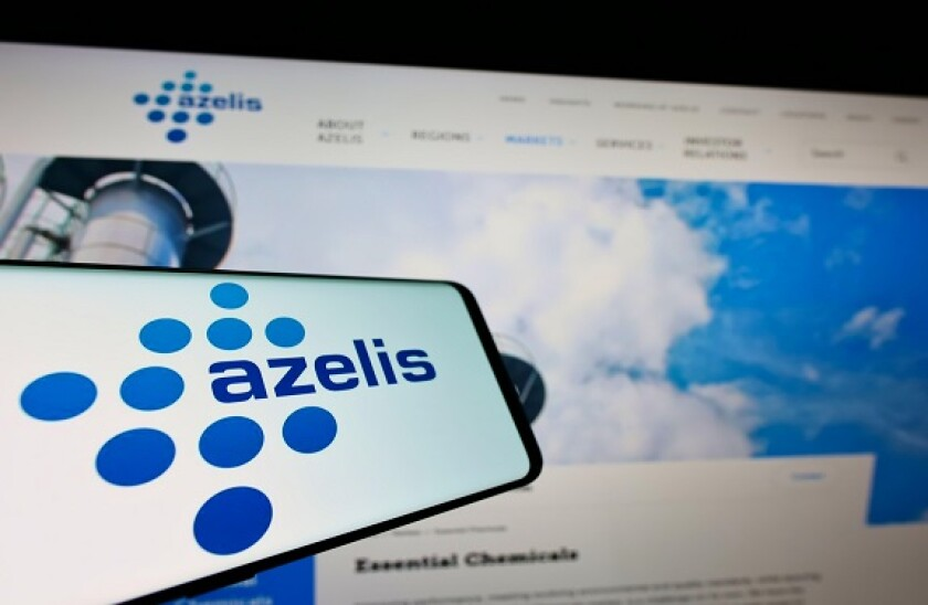 Mobile phone with logo of Belgian chemical company Azelis Holding S.A. on screen in front of business website. Focus on center of phone display.