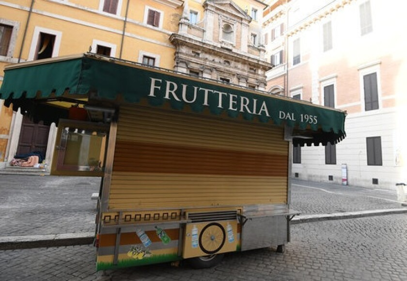 Fruit stall Rome Italy closed by coronavirus 13Mar20