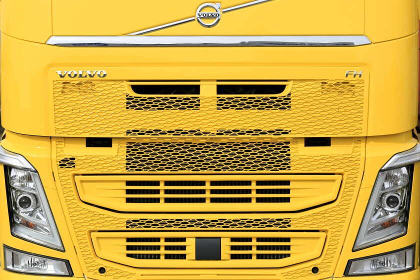 Front of a New Yellow Volvo FH Truck. Illustrative Editorial content.