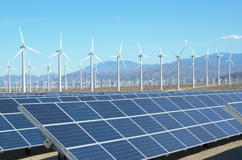 Photovoltaic solar panels and wind turbines, San Gorgonio Pass Wind Farm, Palm Springs, California, USA