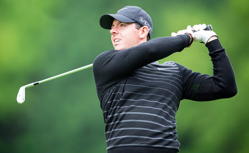 Rory McIlroy competing in the Pro-Am ahead of the BMW PGA Championship at Wentworth on May 20, 2015.