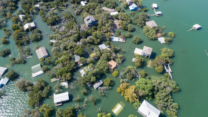 Aerial drone view entire Neighborhood under water near Austin , Texas