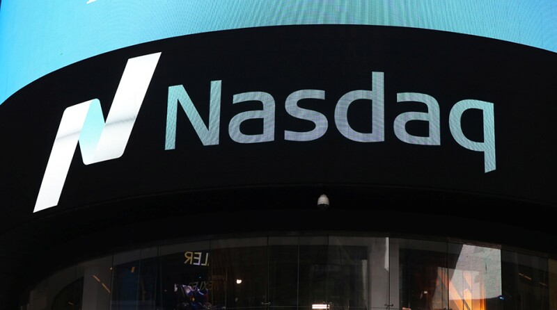A view of the exterior of the Nasdaq market site in Times Square after the Nasdaq breached the 6,000 mark for the first time ever on Tuesday, in New York City