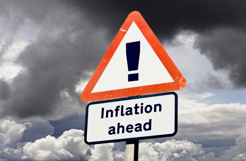 Sign concept showing Inflation Rising Ahead - future prediction, economy, economics concepts, UK