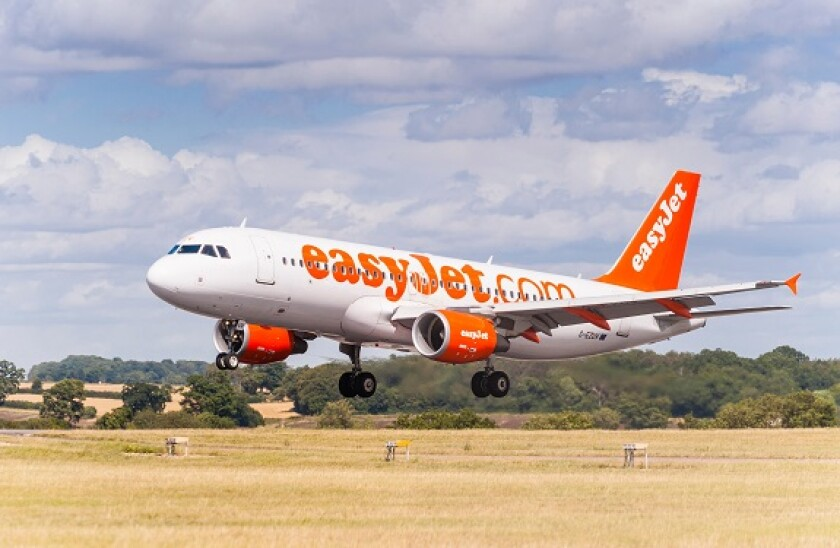 An easyJet Airbus A320 landing at Luton Airport in England , Britain , Uk