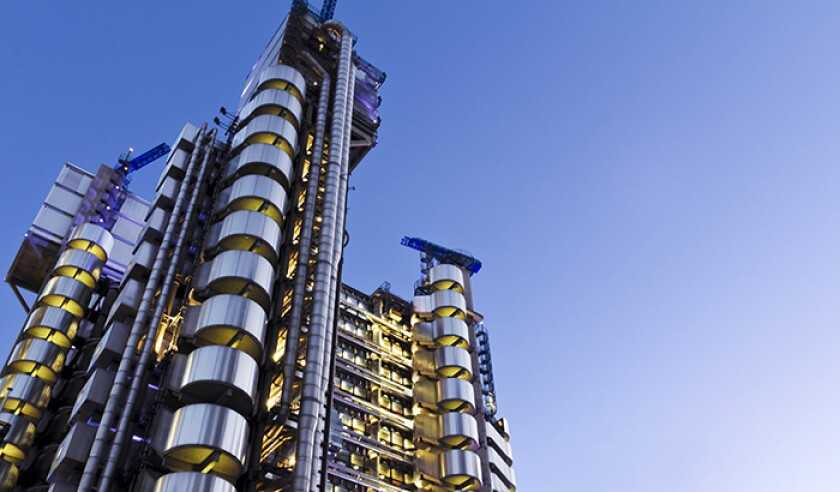 A photograph of the Lloyds Building in London from ground up