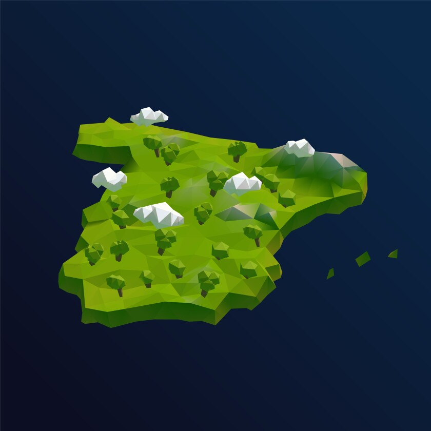 Spain Vector Low Poly 3D Cartoon Map