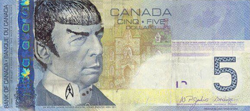 Spock 5 dollar Canadian bill_600x267