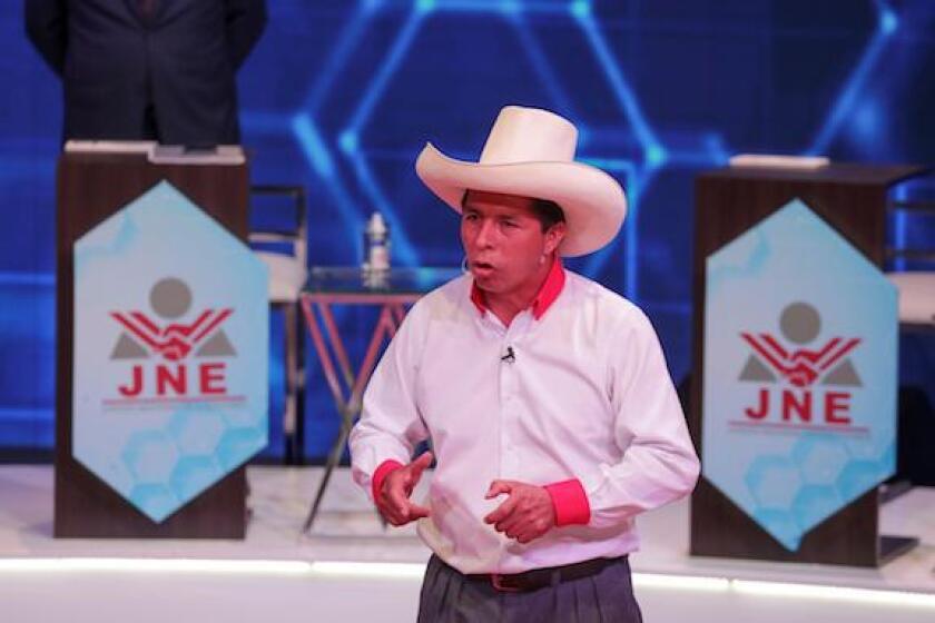 Pedro Castillo, Peru, Peru Libre, elections, hat, LatAm, 575
