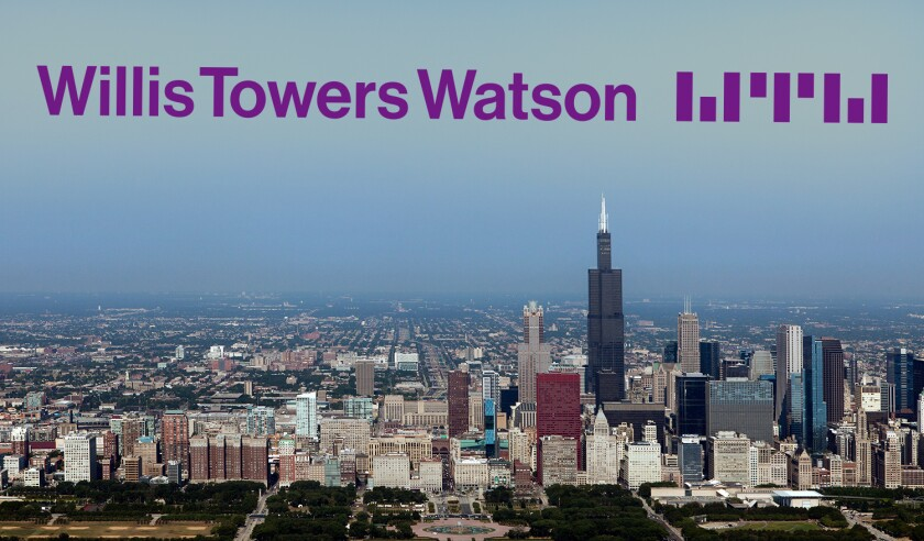 aerial photograph Willis Tower, Millenium Park, marina Chicago, Illinois