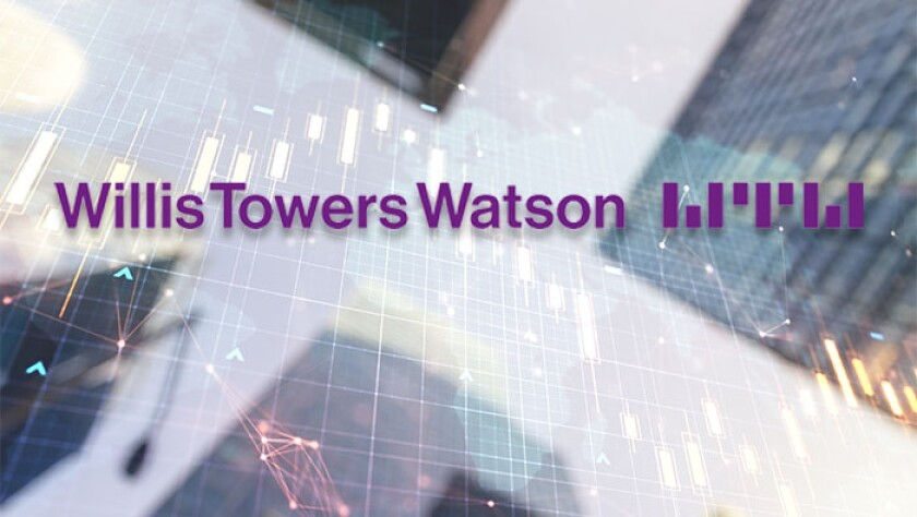 Willis Towers Watson abstract financial diagram with world map on office buildings background.jpg