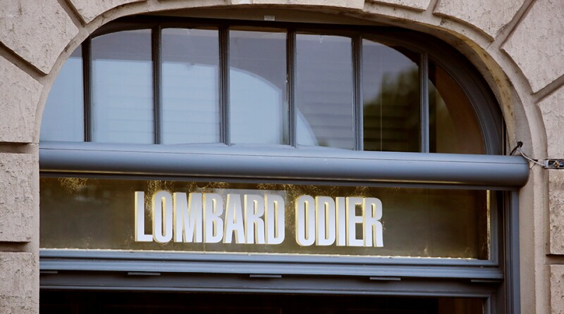 Logo of private bank Lombard Odier is seen in Zurich