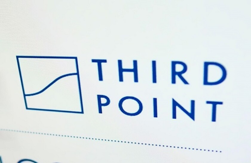 High angle view of business website with logo of US investment company Third Point LLC on monitor. Focus on top-right of screen. Unmodified photo.