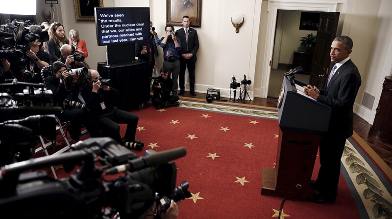 U.S. President Barack Obama delivers a statement on Iran at the White House in Washington