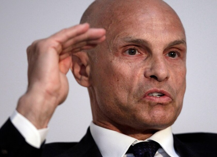 Torbjoern Toernqvist, CEO of Gunvor Group Ltd, an independent commodity trading company, gestures during a panel discussion at the first Global Commodities Summit in Lausanne April 24, 2012.  REUTERS/Denis Balibouse (SWITZERLAND - Tags: BUSINESS COMMODITI