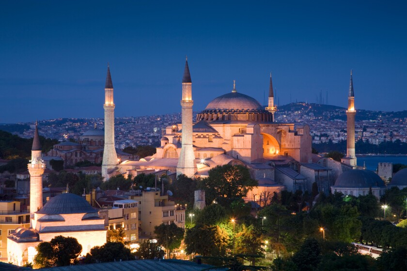 Turkey Istanbul Elevated view of the Hagia Sophia Mosque