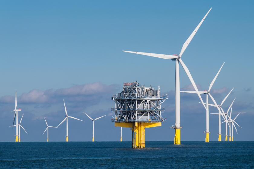 Some of the 175 turbines and one of the two offshore substations on the London Array Offshore Wind Farm, which was the world's largest offshore wind farm until 2017