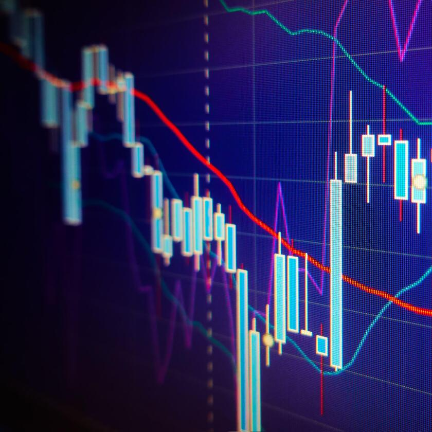 Volatility.  Stock market graphs and charts. Financial and business concept. Shallow DOF!
